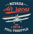 nevada t shirt with old airplane vector image