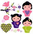 Japan love Geisha and floral elements set vector image vector image