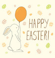 easter greeting card with easter eggs and bunny vector image