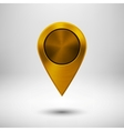 Technology Pointer Button with Gold Metal Texture vector image vector image