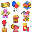 hand draw colorful circus doodle set vector image