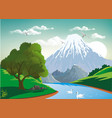 landscape - two swans on a mountain river vector image