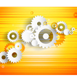 Set of cogwheels on orange background and place vector image vector image
