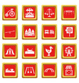 Amusement park icons set red vector image