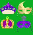 Crown and masks for Carnival Mardi Gras masks vector image