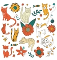 Cute colorful set of hand drawn cats with twigs vector image vector image
