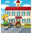 School scene with boy and bike vector image vector image