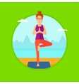 Woman practicing yoga tree pose on the beach vector image