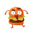 Indignant funny burger with big eyes and opened vector image
