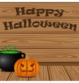 Pot with a potion witch and pumpkin vector image