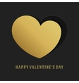 Valentines Day Greeting Card or Poster Gold Heart vector image