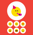 flat icon gesture set of cheerful sad party time vector image