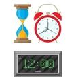 Clocks set hourglass analog and digital clock vector image
