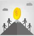 competitors is climbing mountain to get the money vector image
