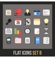 Flat icons set 8 vector image