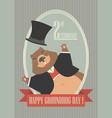 happy groundhog day card with cute groundhog vector image