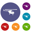 helicopter icons set vector image