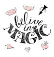 magic hand drawn - cute rainbow and vector image