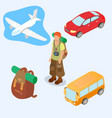 plane bus car backpack with a road rug and vector image