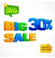 Big sale inscription 30 vector image vector image