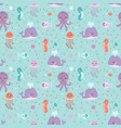 sea animals seamless pattern fish corals starfish vector image