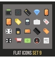 Flat icons set 9 vector image vector image