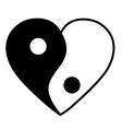 Yin yang heart vector image vector image