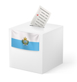 Ballot box with voting paper San Marino vector image