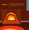 Fireplace image in room vector image vector image