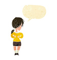 cartoon shy woman with speech bubble vector image