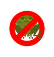 Stop frog Red forbidding sign for green amphibian vector image