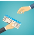 Businessman Receiving Boarding Pass at Airport vector image vector image