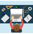 Business man working with laptop and documents vector image