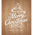 christmas card design on wood texture background vector image