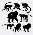 Monkey gorilla and baboon animal silhouette vector image