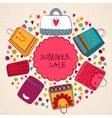 Sale summer background with bags vector image