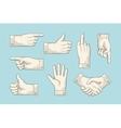 Set of vintage drawing hand signs in engraving vector image