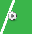 Soccer ball on the field next to the white line vector image