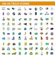 100 hi-tech icons set cartoon style vector image
