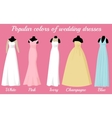wedding dresses of popular colors on mannequins vector image vector image