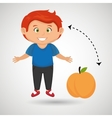 cartoon boy peach fruit vector image