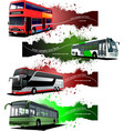 four grunge banners with city buses vector image vector image