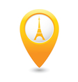 eifel tower icon on map pointer yellow vector image vector image