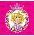 Little princess blonde on a pink background vector image