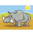 cartoon illustration of funny african rhinoceros vector image vector image