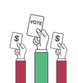 hand holding vote label vector image