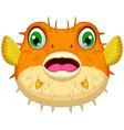 Cute Blow fish cartoon vector image