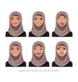 arab women character set of emotions vector image