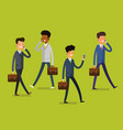 business concept cartoon people with mobile vector image