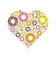donuts in heart vector image